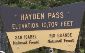 Hayden Pass sign @ 10, 709 feet