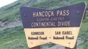 Hancock Pass sign