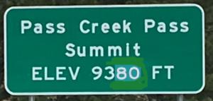 Pass Creek Pass Summit Sign